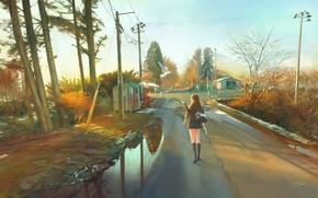 Картинка дорога, девушка, столбы, провода, дома, аниме, арт, форма, школьница, chingi