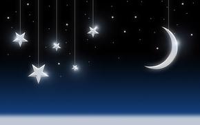Картинка небо, звезды, месяц, Луна