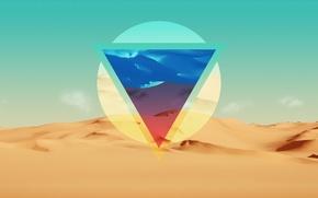 Обои линии, абстракция, пустыня, цвет, треугольник