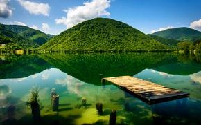 Картинка зелень, горы, река, дно, причал, Босния и Герцеговина