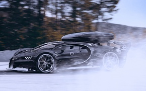 Обои bugatti, vision, gran turismo, black, winter, snow, speed