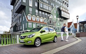 Картинка Opel, House, Car, Green, 2015, Opel Karl, Opel 2015, Karl