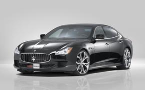 Картинка чёрный, Maserati, Quattroporte, автомобиль, Novitec