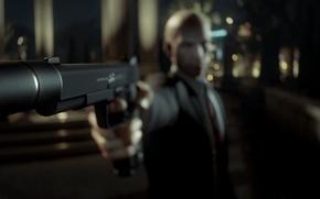 Картинка пистолет, Hitman, киллер, убийца, Square Enix, killer, Агент 47, Agent 47, IO Interactive, хитмэн