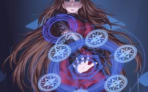 Картинка девушка, круги, магия, аниме, арт, aozaki aoko, mahou tsukai no yoru, feitie