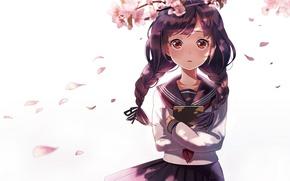 Обои девушка, цветы, ветви, аниме, лепестки, сакура, арт, книга, косички, форма, школьница, sheep sleep