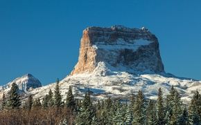Обои небо, горы, скалы, снег, деревья
