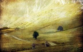 Картинка поле, пейзаж, стиль, скот