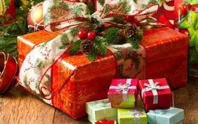 Картинка бумага, стол, игрушки, елка, Новый Год, Рождество, лента, подарки, бант, Christmas, красная, шишки, коробки, New …