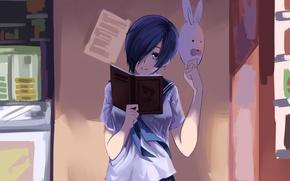 Картинка девушка, маска, книга, Art, Токийский гуль, Tokyo ghoul, Kirishima Toka
