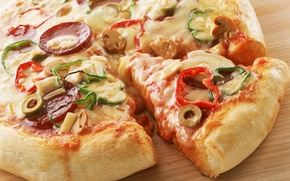 Обои еда, овощи, пицца