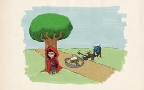 Обои волк, красная шапочка, сказка