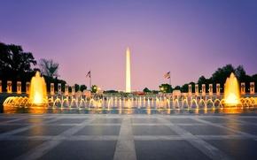 Картинка огни, вечер, фонтан, Вашингтон, США, обелиск, округ Колумбия, Национальный мемориал ветеранам Второй мировой войны