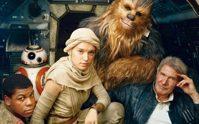 Обои Wookiee, John Boyega, BB-8, Daisy Ridley, Han Solo, Chewbacca, Star Wars 7, human, Chewie, Kashyyyk, ...