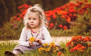 Картинка цветы, настроение, девочка