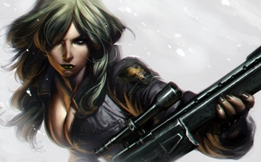 Картинка снег, Девушка, снайпер, винтовка
