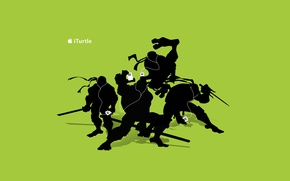 Обои ipod, apple, наушники, ниндзя, tmnt, черепашки, айпод, Teenage Mutant Ninja Turtles