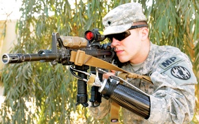 Картинка military, war, scope, Soldier, Assault rifle, prothesis