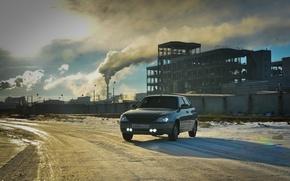 Картинка машина, авто, дым, auto, LADA, Priora, ВАЗ, Приора, противотуманки