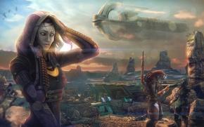 Картинка mass effect, art, Tali'Zorah vas Normandy, geth, tali, space ship, Quarian, Tali'Zora Vas Nima