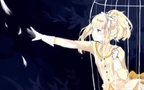 Картинка девушка, рука, клетка, перья, арт, прутья, elisabeth von wettin, sound horizon, tan, marchen, ido e …