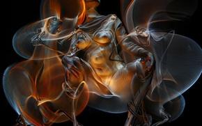 Картинка девушка, фон, чёрный, дым, палата3