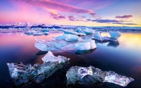 Картинка лед, вода, Озеро, льдины