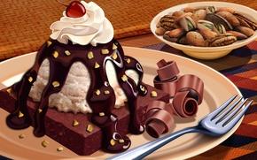 Картинка шоколад, пирог, орехи, крем