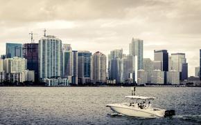 Картинка небо, вода, дом, берег, лодка, здание, небоскреб, облако, house, сша, sky, coast, water, cloud, skyscraper, ...