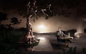 Обои дерево, рисунок, стол, мужчина, алкоголь, женщины, закат