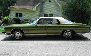 Картинка зеленый, green, шевроле, chevrolet, saloon, sedan, caprice, 1973, oldtimer, каприс