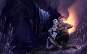 Картинка девушка, любовь, крылья, демон, пещера, парень, кристалы, длинные волосы, влюбленная пара, седые волосы