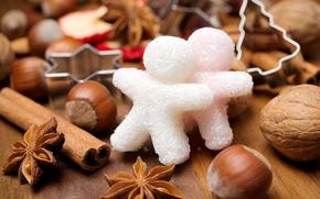 Картинка зима, человечки, Новый Год, Рождество, сахар, орехи, корица, Christmas, фигурки, праздники, New Year, пряности, бадьян, …