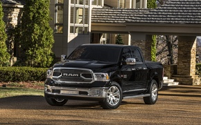 Картинка Dodge, Black, 4x4, PickUp, RAM 1500, Laramie Limited Crew Cab