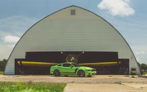 Картинка green, mustang, ford, 302, boss, angar