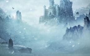 Картинка снег, горы, волк, замок, птицы, крепость, мужчина, посох