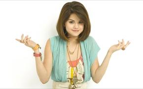 Картинка music, smile, oops, Girls, beauty, 1920x1080, doll, Selena Gomez, wonder, ;-)