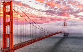 Картинка небо, облака, мост, туман, залив, Сан-Франциско, Золотые Ворота, Golden Gate