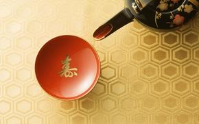 Картинка япония, чайник, чаепитие, чашка, красная, традиция