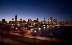Картинка ночь, city, парк, небоскребы, USA, Chicago, Illinois