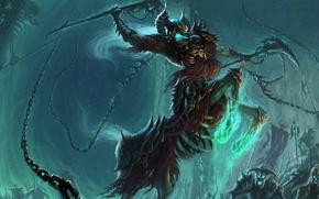 Обои оружие, фэнтази, цепи, копыта, арт, шлем, скелеты, броня, существо