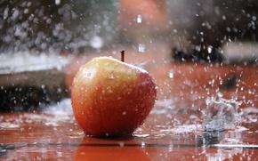 Картинка вода, брызги, яблоко