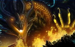 Картинка взгляд, фантастика, огонь, дракон, лапа, арт, пасть, когти