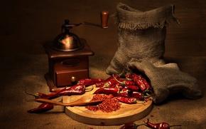 Обои красный, перец, мешки, чили