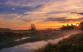 Картинка небо, трава, солнце, облака, деревья, закат, поляна, Поле, вечер, долина, канал