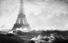Картинка Франция, photo manipulation, France, Париж, город, море, Paris, волны, Eiffel Tower, Эйфелева Башня