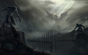 Картинка горы, скалы, дракон, ворота, арт, монстры, статуи, Fallen Enchantress