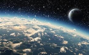 Картинка Облака, Океан, Море, Остров, Планета, Космос, Свет, Земля, Здания, Light, Города, Звёзды, Stars, Space, Earth, …