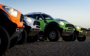 Картинка Авто, Желтый, Белый, Зеленый, Оранжевый, Фары, Mini Cooper, Rally, Dakar, Дакар, Внедорожник, Ралли, Четыре, MINI, …