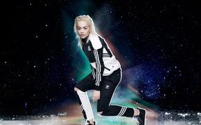 Обои костюм, фотосессия, Rita Ora, Originals, Adidas, певица, модель, Рита Ора, блондинка, одежда, бренд, реклама, 2015